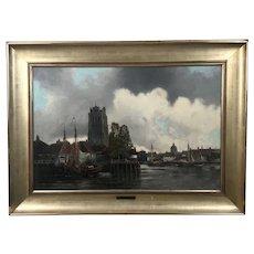 """Louis Van Staaten (Hermanus II Koekkoek) Dutch Oil on Canvas """"Harlem - Holland"""""""