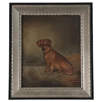 """Circa 1900, Edwin Loder (1827 - 1885) """"Patches the Pooch"""" Oil on Canvas"""