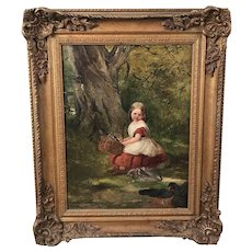 """Robinson Eliot (1814 - 1894) Oil on Canvas""""The Woodman's Child"""""""