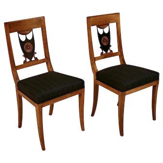 1830 Biedermeier Maple and Ebonized Wood Side Chairs - a Pair