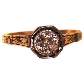 Vintage 18k Two Tone Engagement Ring