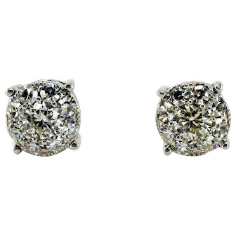 Excellent Cluster Diamond Earrings