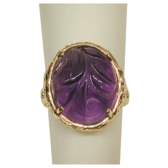 14 k Yellow Gold and Carved Amethyst Ring
