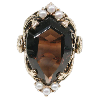 Smokey Quartz and Cultured Pearl Antique Style Ring