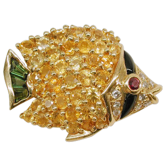 18kt. Yellow Gold Gem Set Fish Brooch