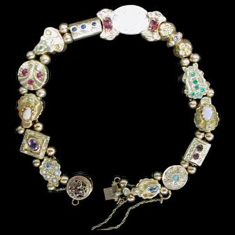 Vintage Slide Bracelet. 14kt. Yellow Gold and Genuine Gems.