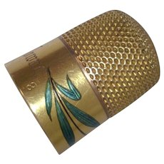 Vintage 14 k Gold Enameled and Engraved Thimble