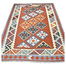 6.4 x 4.9 Colorful tribal flatweave Kelim Kilim  √ Free shipping