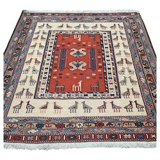 4.4 x 4.4 Anatolian Sumak flatweave Kilim rug √ Free shipping