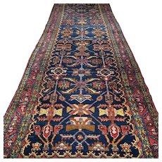 Free shipping - 12.1 x 3.7 Antique dark vintage Caucasian Kazak Oriental runner rug - early 1900s