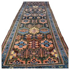Free shipping - 10.5 x 3.7 Colorful vintage antique Kazak Oriental rug - early 1900s