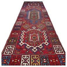 10.4 x 3 Vintage antique tribal bohemian Kazak rug √ Free shipping