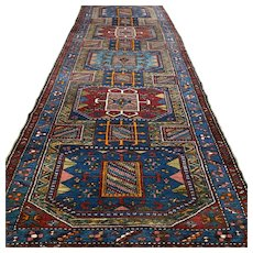 10.6 x 3.7 Dark Antique Caucasian Kazak Oriental runner rug √ Free shipping