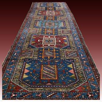 10.6 x 3.7 Dark Antique Caucasian Kazak Oriental runner rug √ Free shipping