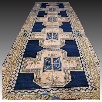 10.3 x 3.7 Antique 1800s Caucasian Kazak runner rug √ Free shipping