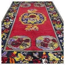 Free shipping - 7.4 x 5 Antique early 1900s Caucasian Karabakh Kazak Oriental Persian rug