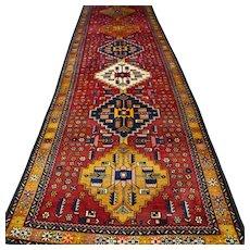 12.8 x 3.5 Large Caucasian Kazak runner rug √ Free shipping