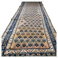 12.8 x 4.1 Antique 1870s Kazak runner rug √ Free shipping