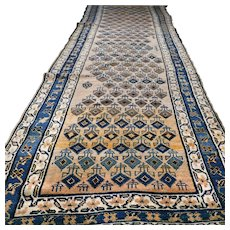 Free shipping - 12.8 x 4.1 Antique 1870s Caucasian Kazak runner rug √ Free shipping
