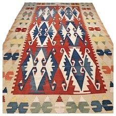 7.5 x 4.7 Colorful Anatolian flatweave Sarkoy Kelim Kilim √ Free shipping