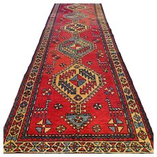 10.2 x 3.1 Tribal Kazak runner - Free shipping