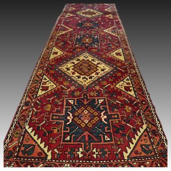 9.5 x 3 Antique 1920s Tribal Oriental runner √ Free shipping