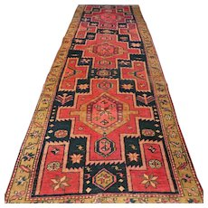 8.9 x 3 Antique tribal Kazak runner √ Free shipping