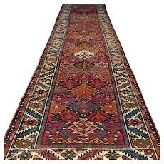 10.9 x 3 Tribal Kazak Oriental runner rug √ Free shipping