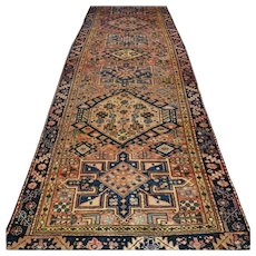 9.8 x 3.3 Antique 1920s tribal Caucasian runner √ Free shipping