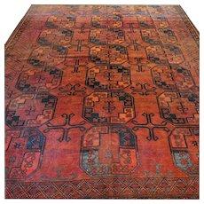 10.3 x 8 Antique 1880s Afghan Bukhara rug √ Free shipping