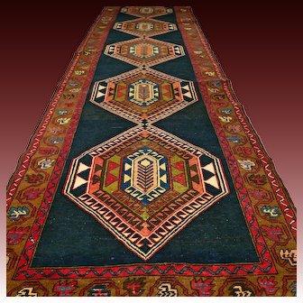 14.1 x 4 Luxury dark tribal Kazak runner √ Free shipping