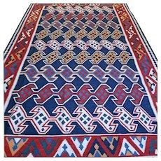 10.7 x 6.7 Superb Sarkoy Kelim rug √ Free shipping