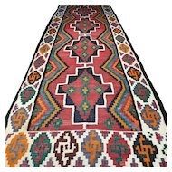 13.5 x 4.8 Antique oversized flatweave Kelim rug √ Free shipping