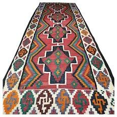 13.5 x 4.8 Antique oversized flatweave Kelim rug √ Free shipping
