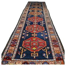 13x3.6 Tribal antique Caucasian Kazak runner √ Free shipping