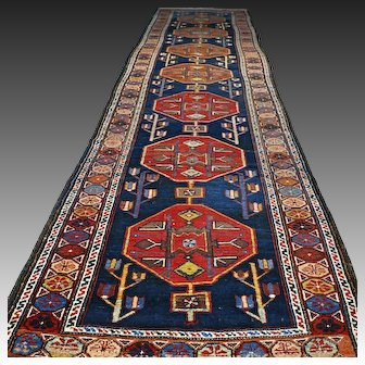 13x3.6 Tribal antique Caucasian Kazak runner √ Free shipping