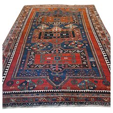 9.2 x 6.6 Antique collectors Kazak rug √ Free shipping