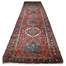 10.9 x 3.1 Vintage antique Kazak runner √ Free shipping