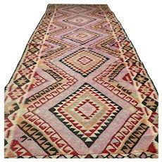 10.2 x 4.2 Pink Anatolian flatweave kilim √ Free shipping