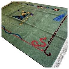10 x 6.6 Green modern contemporary rug √ Free shipping