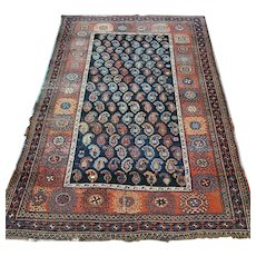 Free shipping - 5.1 x 3.6 Antique 1800s boteh Caucasian Kazak rug - collectors item