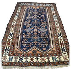 Dark tribal Antique Oriental rug - 6.8 x 4.3 √ Free shipping