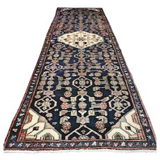 8.6 x 2.8 Dark tribal Oriental rug √ Free shipping