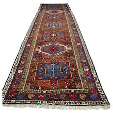 Free shipping - 11 x 3 Vintage antique bohemian runner rug - early 1900s