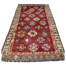 Free shipping - Tribal Oriental rug - 6.2 x 3.5 √ CLEANED