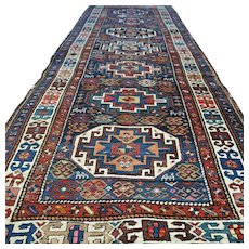 Free shipping - 11.7 x 4.1 Antique Caucasian Kazak Oriental runner rug - 1800s - collectors item