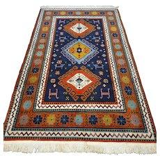 6.6 x 4.1 Blue Caucasian Kazak rug √ Free shipping