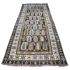 Free shipping - 7.4 x 3.3 Antique special Caucasian boteh Kazak rug - mid 1800s - collectors item