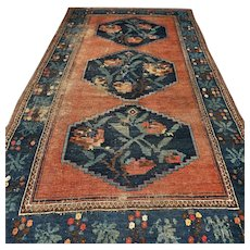 Free shipping - 8.1 x 4.6 Antique 1800s Karabakh Caucasian Kazak rug - collectors item