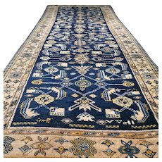 9.4 x 3.8 Antique Caucasian Karabakh Kazak runner rug √ Free shipping